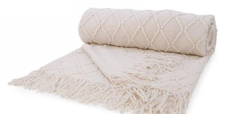 Cream Knit Throw
