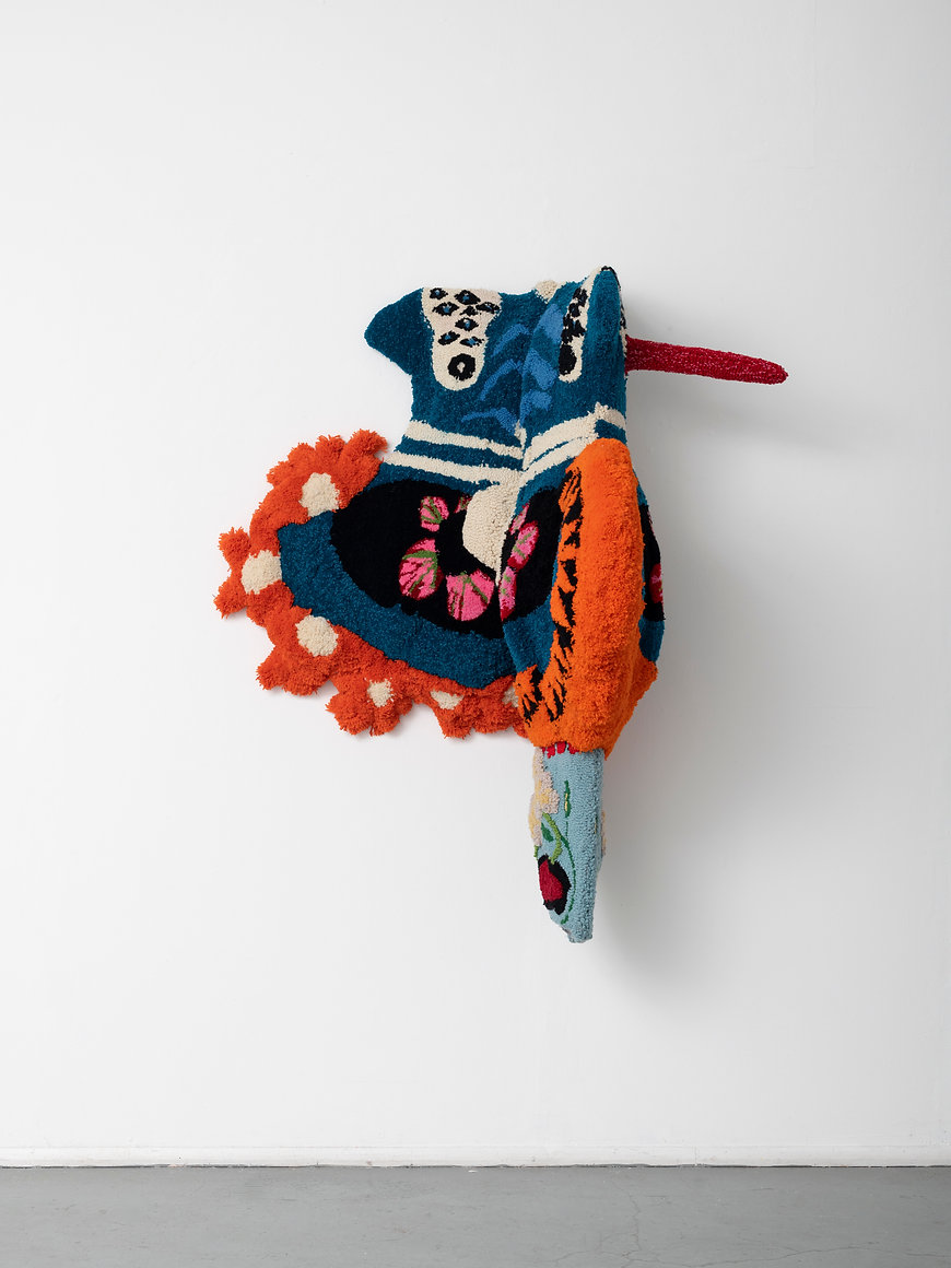 Frida, tufted yarn and wooden frame, 130