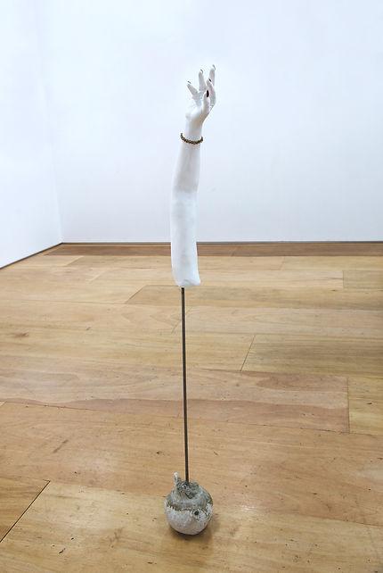 Hand,155×29cm,-Plaster,-metal-pole,-ceme