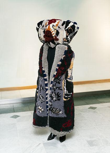 Baba Yaga, tufted yarn & artificial hair