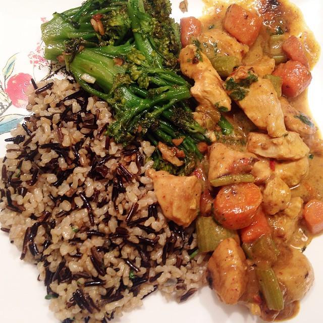 Instagram - Fusion dinner: curry chicken & veggies, broccoli rabe, wild rice pil