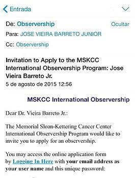 Convite para o Observership no MSKCC, New York, NY