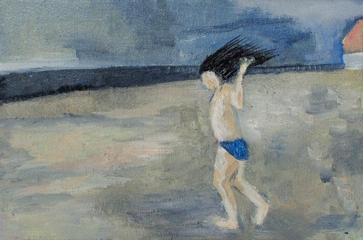 girl on beach, running
