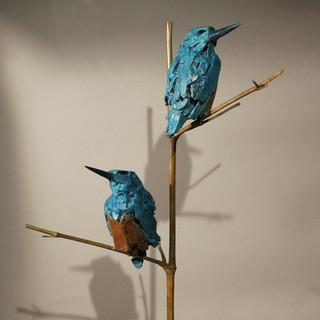 Bronze - couple de Martins pêcheurs