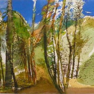 aquarelle jeunes arbres