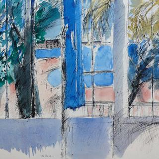 Aquarelle - Le rideau bleu à bandol