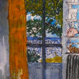 """aquarelle """" le rideau orange"""""""