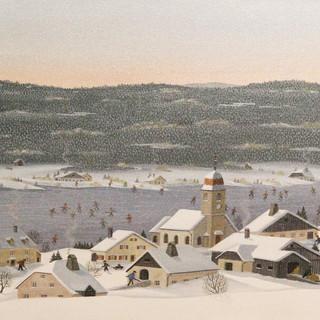 41x27 Patineurs sur lac Saint Point (Grangettes)