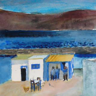 Aquarelle - Petit bar sur la  plage - Sèrifos - Grèce