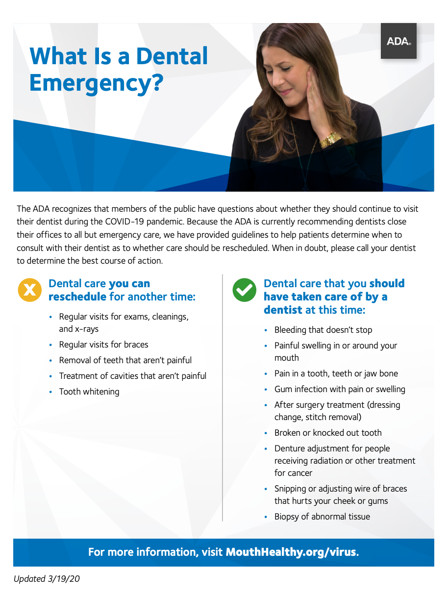 ADA's guideline to patients regarding dental emergency, Spring Valley Dental Group dentists in O'Fallon IL 62269
