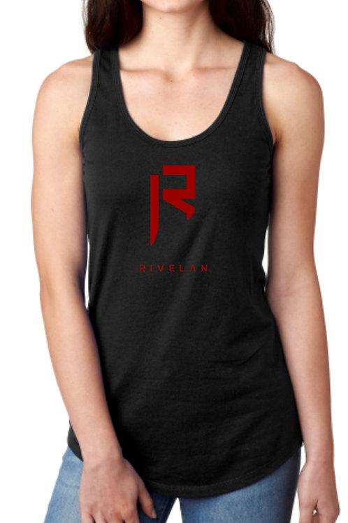 Women's Rivelan Logo Tank - Red Logo on Black