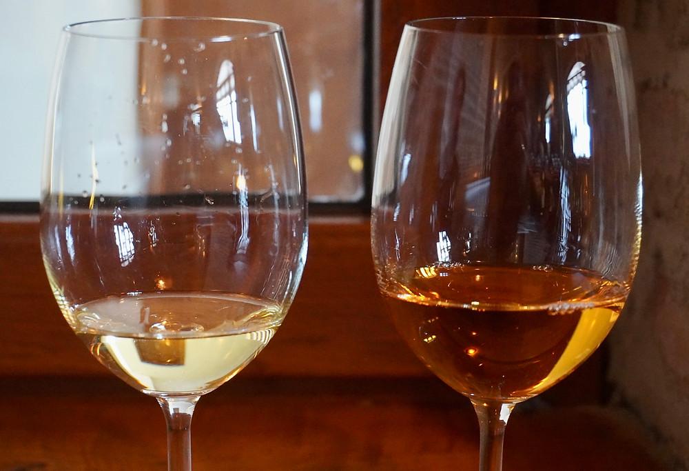 Le même cépage (Mtsvane) fermenté en cuve (à gauche) et en Qvevri (à droite). © Fabrice Roy
