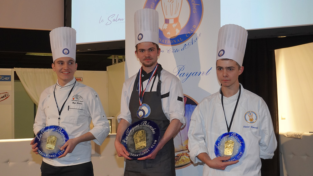 Le trio gagnant. De gauche à droite, Hugo Pereira - Ecole Hôtelière de Sisteron, Gabriel Rebinguet - CFA de Digne, Willi Cavan - C.E.F. © Fabrice Roy