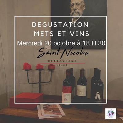 Dégustation Mets-Vins au Saint-Nicolas