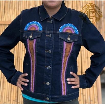 Conjunto de chaqueta y pantalón de mezclilla pintado a mano #3