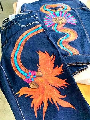 Conjunto de chaqueta y pantalón de mezclilla pintado a mano