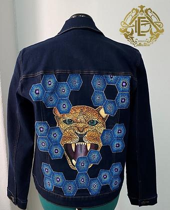 Conjunto de chaqueta y pantalón de mezclilla pintados a mano #2