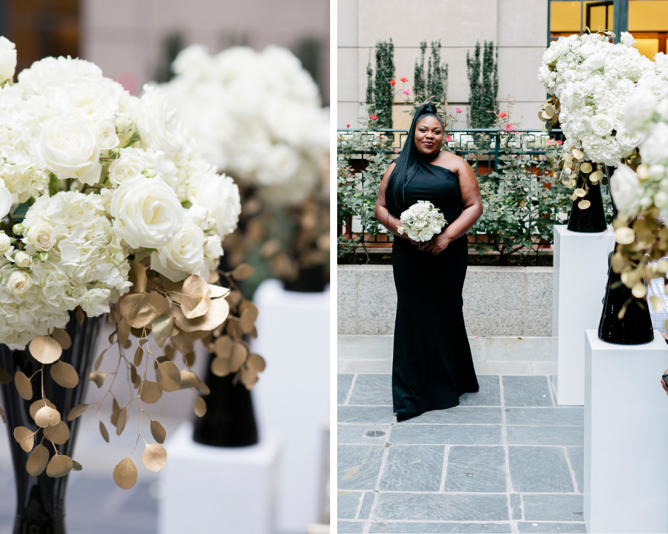 Aisle flowers at The Westin Georgetown Washington DC Wedding Floral Design