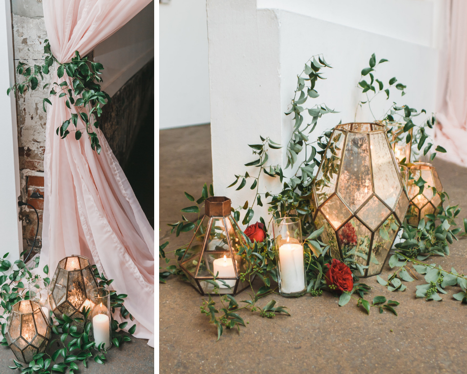 Geometric decor and greenery at Long View Gallery Wedding