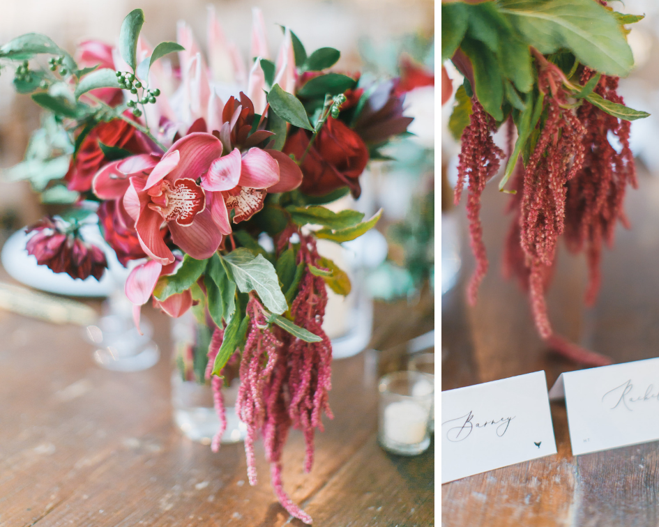 Floral centerpieces at Long View Gallery