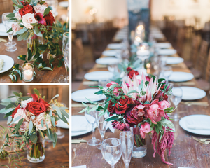 Red and pink rose centerpieces at Long View Gallery