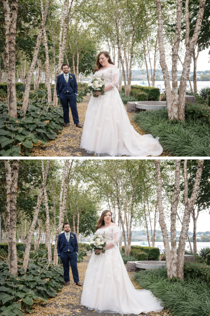 Couple's portrait at  District Winery, a waterfront Washington, DC wedding