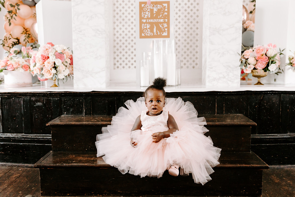 One year old posed for birthday photo in pink tutu