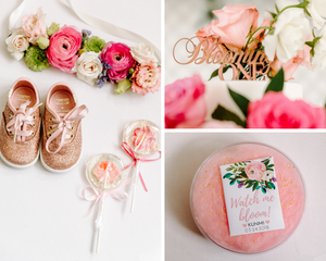 Child's first birthday shoes and favors