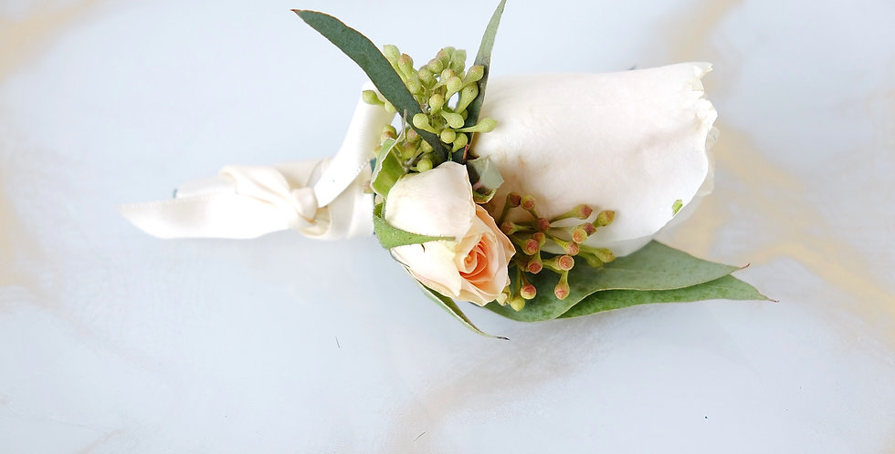 White & Peach Rose Boutonniere