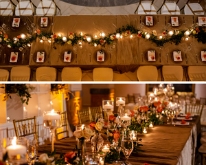 Aerial view of the dining table and floral design with floating candles
