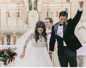 Rachel & Barney: the bride & groom celebrate at Washington DC church