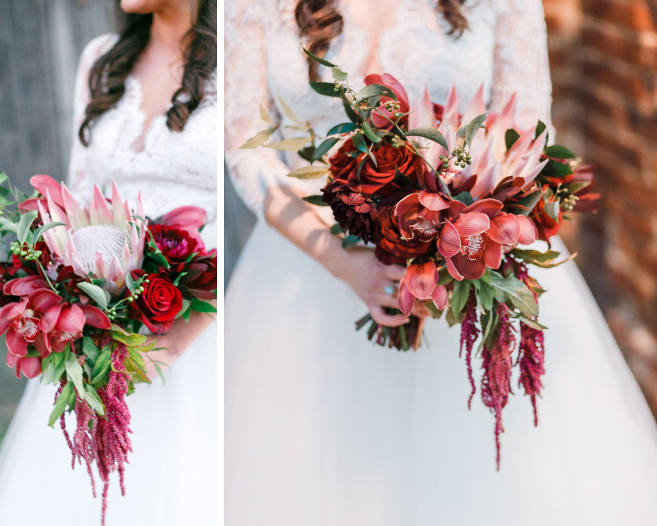 Red and burgundy bridal bouquet by Designs by Oochay