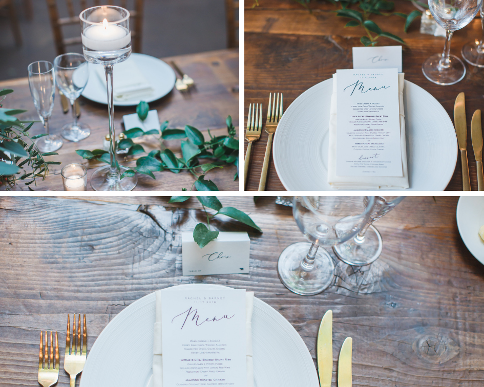 Table settings at Washington D.C. wedding reception