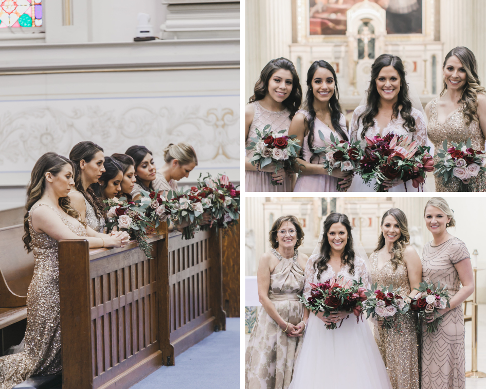 Bride and bridesmaid during Wedding ceremony at St. Aloysius Gonzaga Church in Washington D.C.