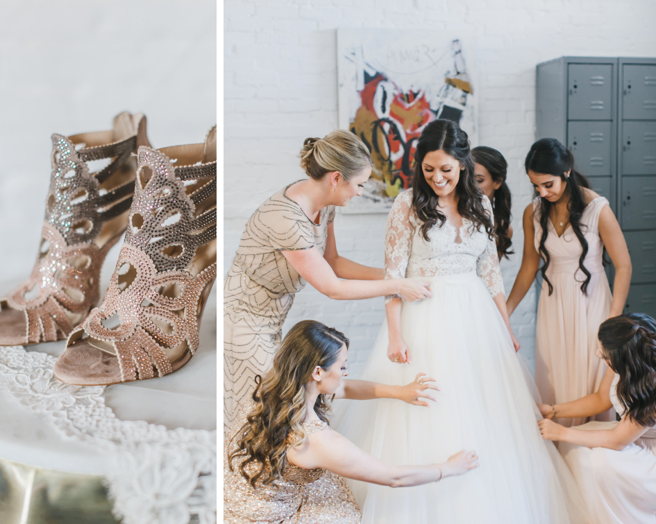 The bride and bridesmaids at Long View Gallery, DC