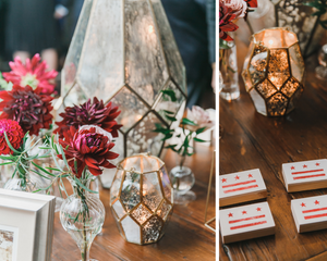 Geometric lanterns and red flowers at Long View Gallery Washington D.C. Wedding