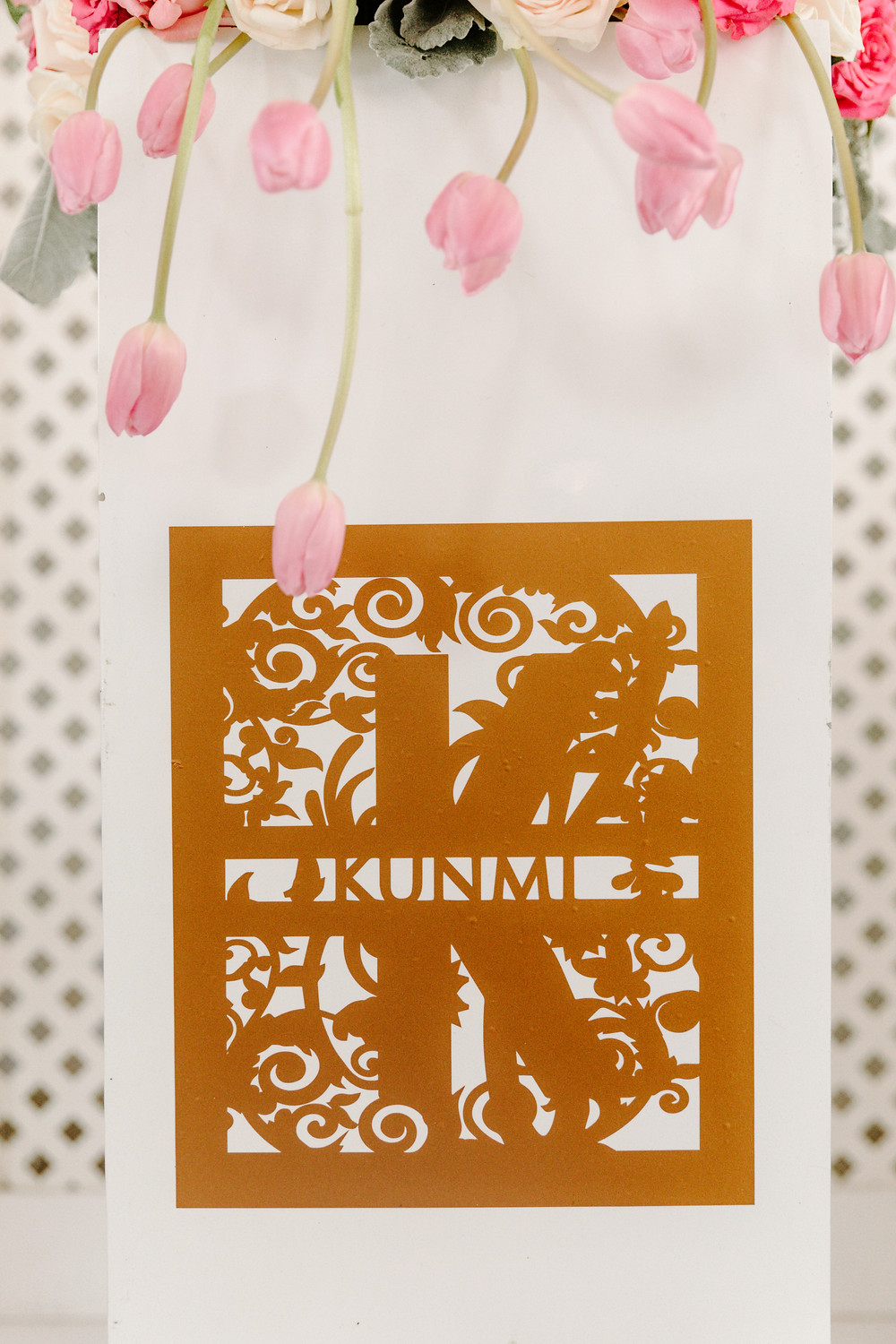 Tulips and nameplate stencil