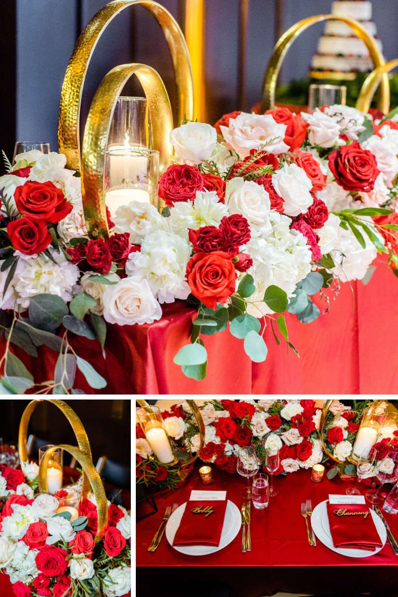 Gold and red place settings and roses at dining tables