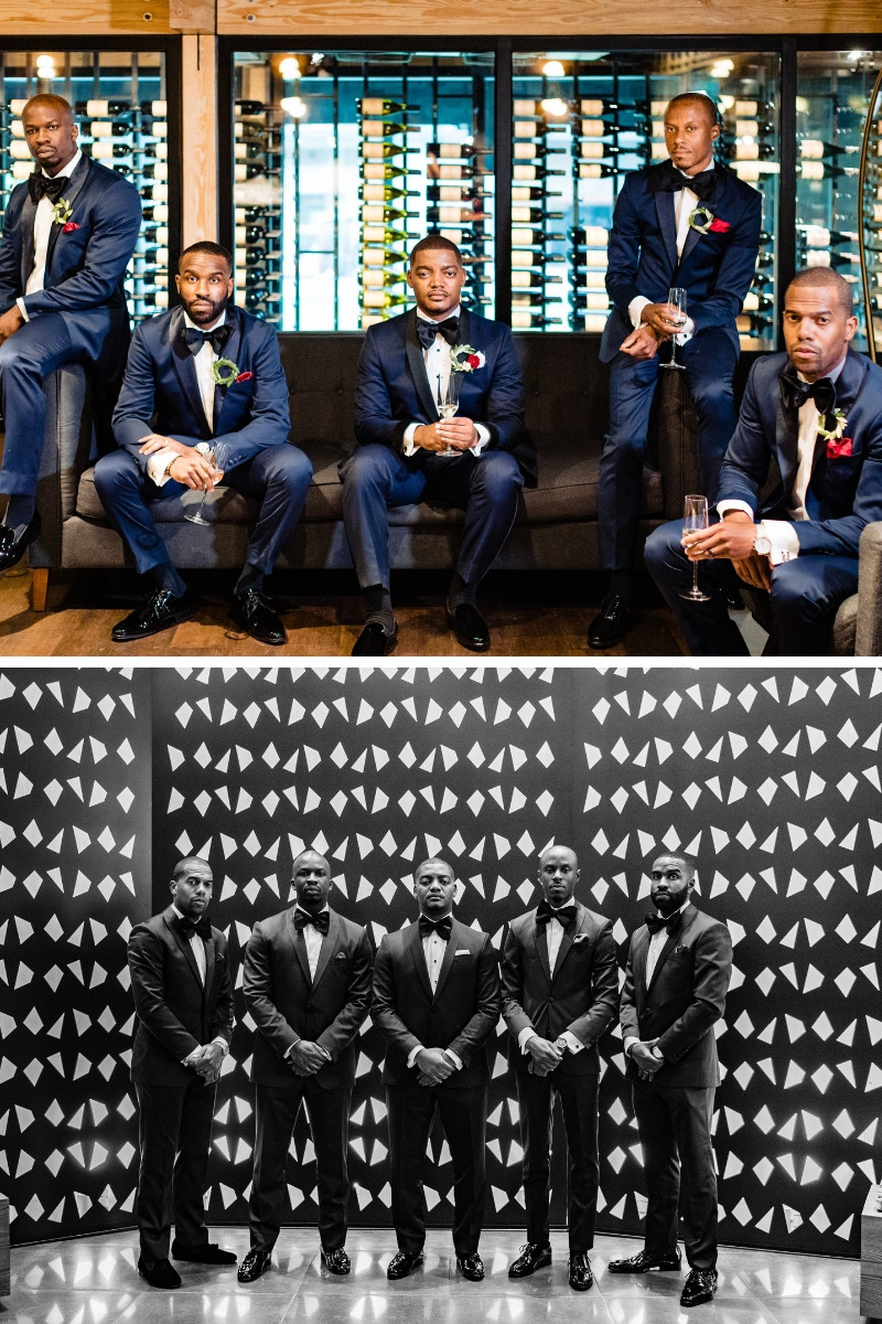 Black and white photo of groomsmen in District Winery Wedding