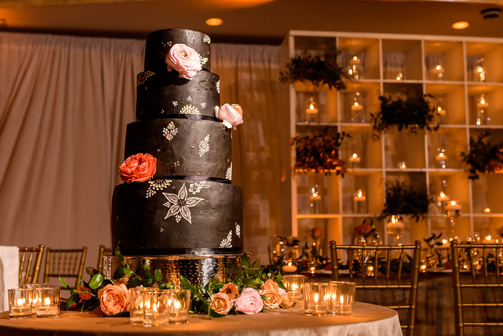 Black wedding cake with roses