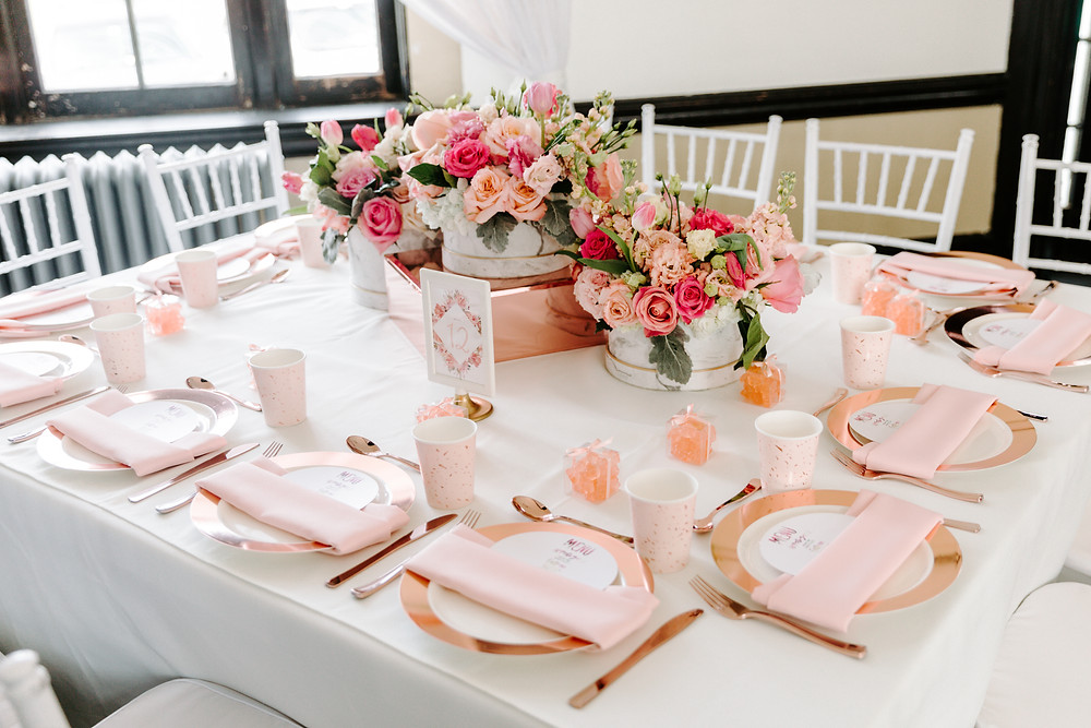 Rose gold table settings