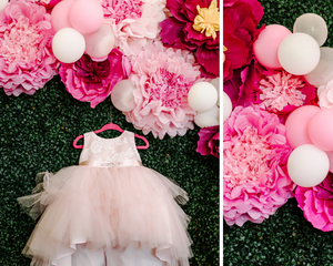 Girl's first birthday dress with paper flowers