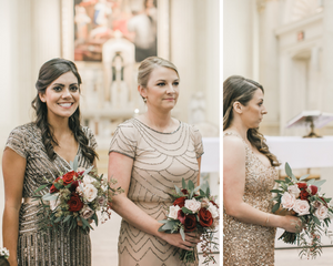 Bridesmaids posing with bouquets at church ceremony