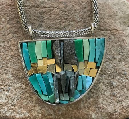 Turquoise and Slate Pendant