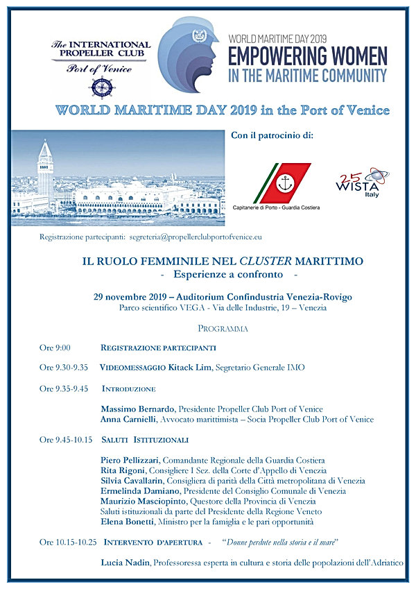 1 WORLD MARITIME DAY 2019 in Venice - Pr