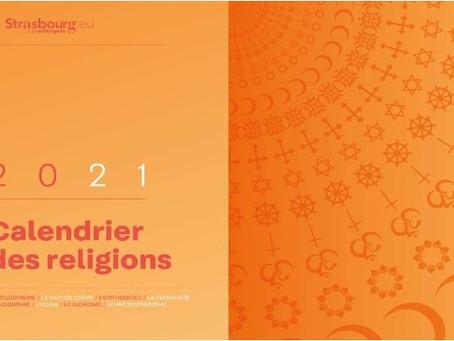 Calendrier des religions 2021  édité par la ville de Strasbourg