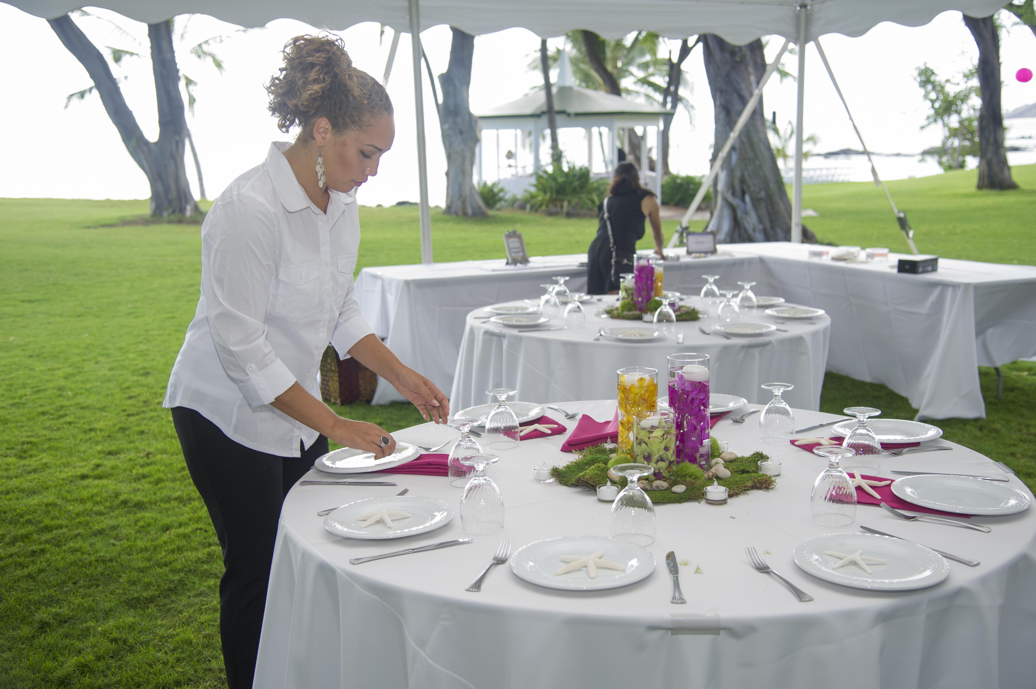 Grace Weddings setting up.
