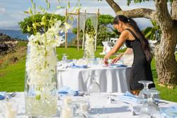 Table set-up for a Maui wedding