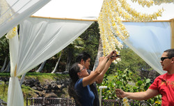 Hanging Plumeria Leis by Grace