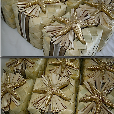"4x4"" LAUHALA BOX decorated with SHELL, RAFFIA and tied with RIBBON. $130.00 for 10 boxes."